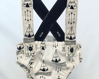 Boho Suspender Diaper cover / bloomers / baby underwear / baby shower gift  / baby boy / Arrows / Teepees