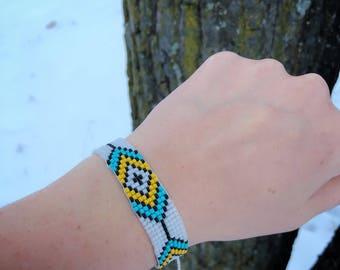 Beaded Bracelet - Glass Beads - Native American - Adjustable Sizing - Sage Blessed - Lakota - Sioux - Boho Jewelry - Handmade