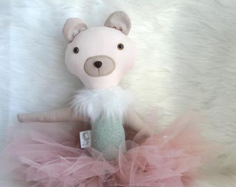 Bear Doll - Bear Toy - Bear Stuffed Animal - Heirloom Doll - Textile Doll - Princess Doll - Stuffed Toy - Ballerina Doll Toy - Gift For Girl