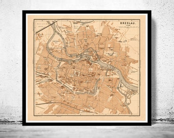 Old Map of Breslau Wroclaw  Poland 1895