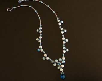 Beaded Necklace with Swarovski Crystals in Shades of Golden Green, Yellow, Opal Green, Teal and Blue Zircon. Delicate Flower Necklace S223