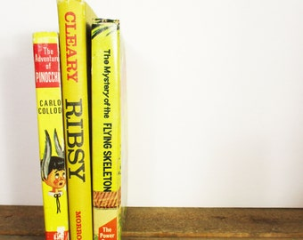 Vintage Yellow Book Bundle featuring Pinocchio, Ribsy, and The Mystery of the Flying Skeleton. Bright Yellow Vintage Book Stack for Decor!