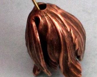 Tulip Bead Cap, Pendant, Antique Copper, 20x17 mm, AC172
