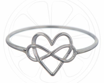 FREE SHIPPING USA, Infinity Ring, Heart Ring, Infinity Jewelry, Ring, Sterling Silver, Infinty, Jewelry, Simple Ring, Infinity Knot, Gift,