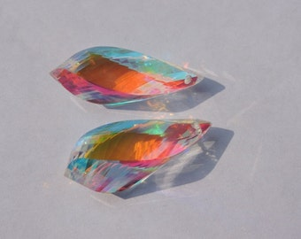 25% OFF 2 Pcs Matched Pair Rainbow Mystic Quartz Faceted Twisted Drops Briolette Size 30*10 MM