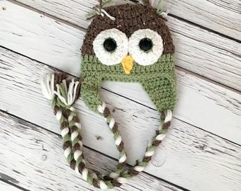 Baby Owl Hat, Crochet Hat, Green and Barley Owl Hat, Handmade Baby Hat, Crochet Owl Beanie, Photography Prop
