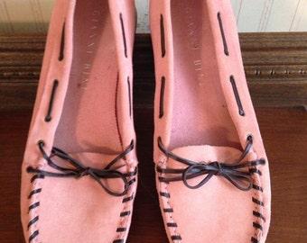 Pink suede mocassins