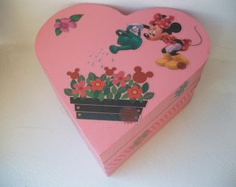 Box wooden jewelry box pink hand made girl and mouse.