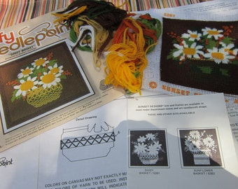 Vintage Daisy Basket Jiffy Needlepoint Almost Completed Stitchery Kit To Finish Up By Sunset Designs