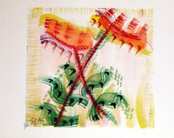 LIVRAISON gratuite aquarelle rêves numéro 1 (tournesols)