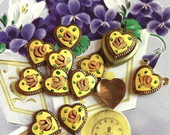 4 Vintage enameled Hearts, Guilloche hearts, Heart Cabochons,Dresden Hearts,Enamel Heart Cabochons, Rose Hearts,Yellow shabby Chic 9mm #G17J