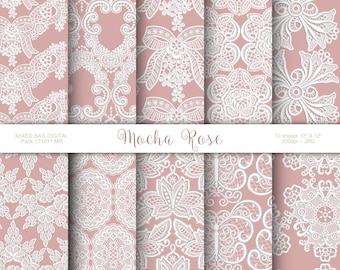 Embroidered Lace on Mocha Rose Background 10 Sheet Assortment Pack at 300dpi  Digital printable Weddings, Cards, Labels, Origami, Scrapbook
