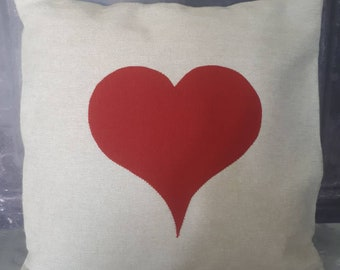 Bespoke Cushion with Red Heart