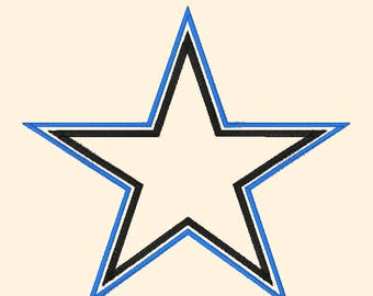 Beautiful Double Star Applique Machine Embroidery Design Pattern Instant Download