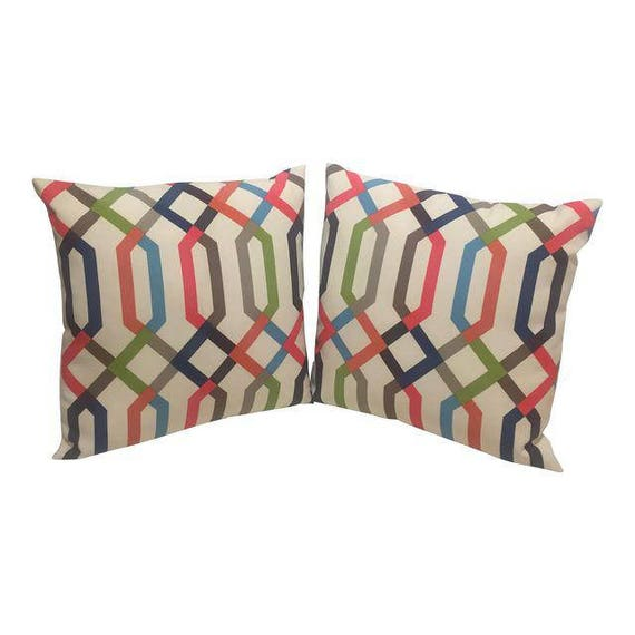 Pair Of Multi Colored geometric shape Handmade Square Pillows