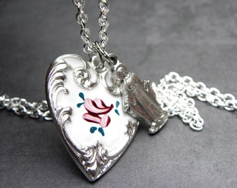 Rose Enamel Heart SP Pendant & Virgin Mary Catholic Charm Necklace, Catholic Gift, Confirmation Gift, Baptism Gift
