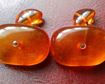 Vintage Genuine Baltic Sea Amber Cufflinks, Excellent condition, Latvia, pre WWII