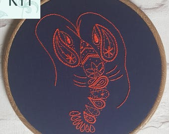 Embroidery Kit - Paisley Lobster - DIY Kit - Sewing Project - Contemporary & Modern Embroidery - Craft Kit
