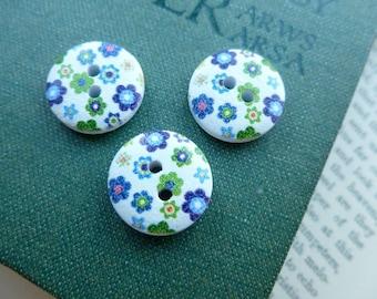 10x Wooden Button 15mm Button, Sewing, Dress Making Buttons Scrapbooking BT13