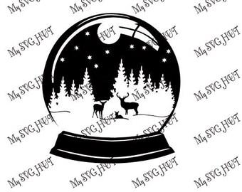 Winter Forest Scene Snowglobe Silhouette template
