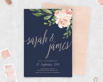 Navy and blush floral, Wedding Invitation, Custom, Printable Invite