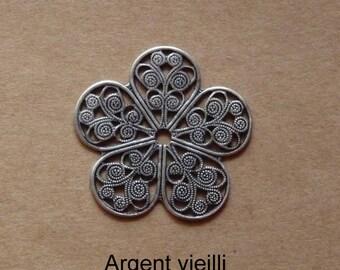 Flower print filigree metal antiqued or shiny
