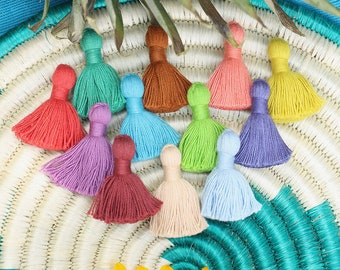 "Cotton Tassels, Solid Color Mini Jewelry Making Tassels, Handmade Earrings Tassels, 1.25"", Jewelry Making Supplies, You Choose 10+ Colors"