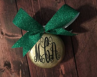 Personalized Monogram Glitter Christmas Ornament
