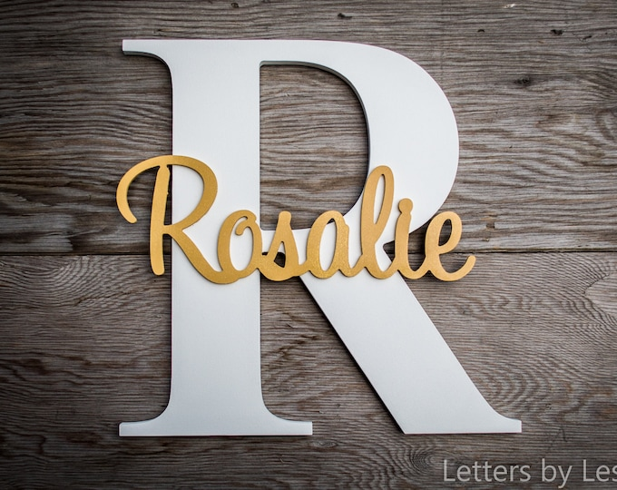 Wood Letters - Capital Letter with Name - Custom Nursery Decor - Personalized name on Large Letter, Wooden letter
