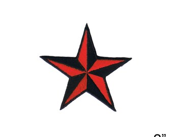 2 INCH Red Black Nautical Star Embroidered Iron on Applique Patch FD