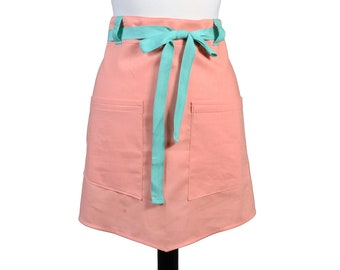 Womens Linen Retro Half Apron in Mango Straight Style Skirt with Teal Belt Loops and Ties and Two Pockets