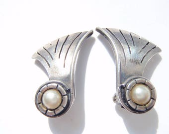 1940s William Spratling Earrings - Vintage Taxco Sterling - Mexican Silver Jewelry - Bride - Clip On Earrings - Bridal - Wedding Accessory