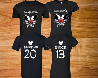 Celebrating anniversary  Minnie Mickey with custom year on front and together since back design  matching couple Valentine tshirts