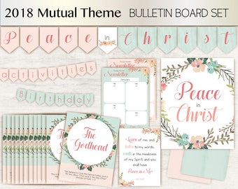 2018 LDS Young Women Theme 2018, Mutual Theme, Peace in Christ, Bulletin Board Set Young Women, Instant Download, Young Women Printable