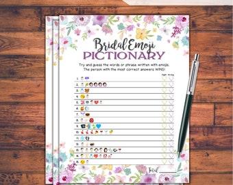 Emoji Pictionary Bridal Shower Game / Wild Flowers / Instant Printable Digital Download / DIY Bridal Shower Printables / EMJOI Game / WFL77