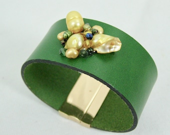 Green and Yellow Wide Cuff Bracelet,Women's Leather Bracelets,Pearls,Swarovski Crystals,Mary Ellen Designs,Gifts For Her,Magnetic Clasp