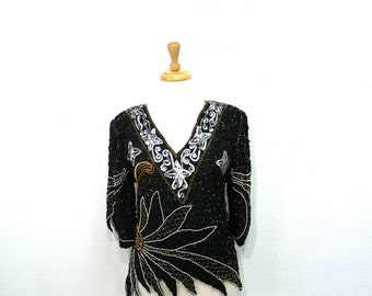 Vintage Silk Blouse Black Sequin Beaded Gold and Silver Trophy Top Glam Holiday Medium