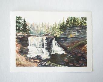 Blackwater Falls Watercolor Print - WV Landscape Print - Landscape Watercolor Illustration