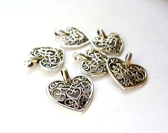 6 Antique Silver Filigree Heart Charms - 21-44-1