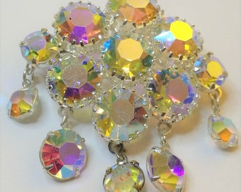 Vintage Aurora Borealis Rhinestone Crystal Pin with Dangles Open Back Bezel Set Czechoslovakia