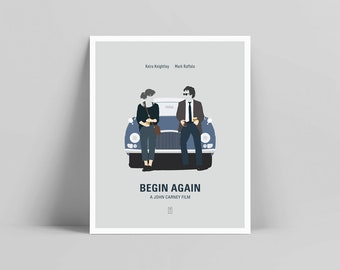 Begin Again - Minimalist Poster, Begin Again Poster, Minimalist Print, Begin Again Print, John Carney, Keira Knightley, Mark Ruffalo