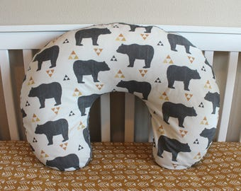 Woodland Bear Boppy Cover - Nursing Pillow Cover for Modern Baby Boy
