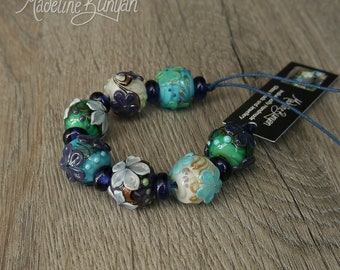 Round Flower Beads, Mixed Floral, Textured, 3D Flower, Purple Turquoise and Cream Bright Flower Lampwork Bead Set (7 plus 8 spacers) SRA