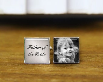 Custom Photo cufflinks, Father of the Bride Cuff Links, gray background cufflinks, custom round or square cufflinks & tie clip, father gifts