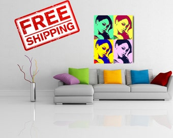 Custom Pop Art Portrait Print on canvas Gift for mom Birthday gift Valentine's Day Gift for her Gift for him Wall print decor