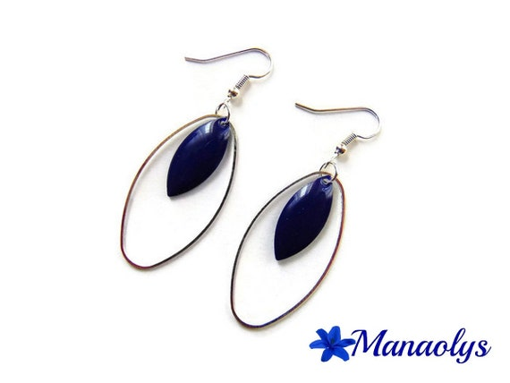 Hoop earrings, silver ring oval charms, enamel 3285