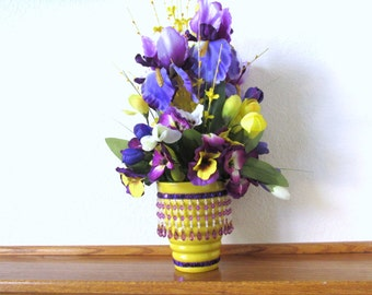 Spring Floral Centerpiece in Purple Iris, Yellow Forsythia, and Mixed Pansies and Tulips