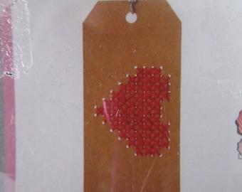 "My small kit ""Paper label"" cross stitch heart"