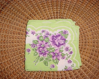 Green with Purple Flowers Violets Hankie Hanky BEAUTIFUL Handkerchief