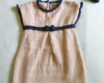 Navy Blue and beige dress for 18 months babies knitted